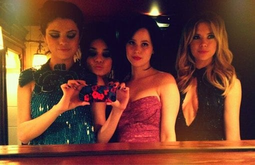 Selena Gomez snapped a photo of herself with her Spring Breakers costars Vanessa Hudgens, Ashley Benson, and Rachel Korine after their Paris premiere. Source: Twitter user selenagomez