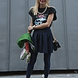 A vintage-feeling tee gave new life to a pleated skirt and high-impact platforms.