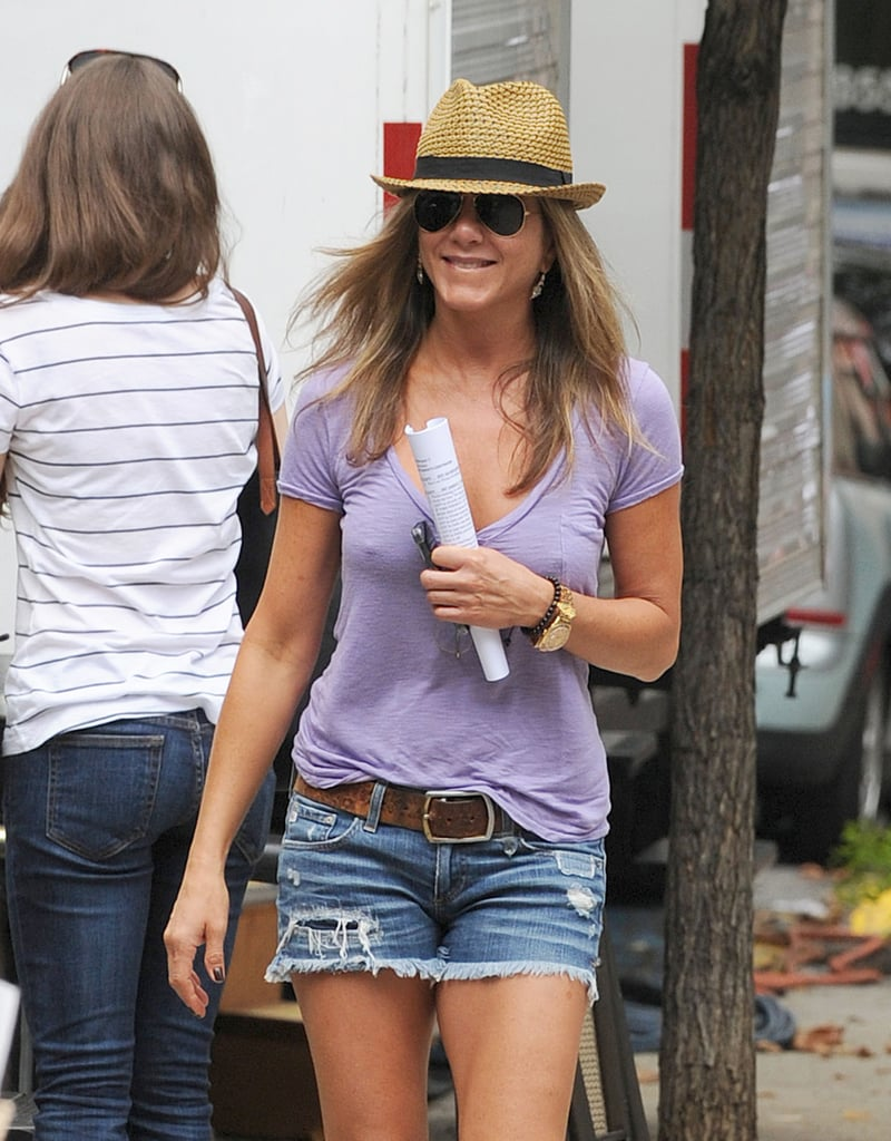 On July 23, Jennifer Aniston filmed Squirrels to the Nuts in NYC.