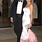 Melania's boudoir look was complete with a pink ruffled trim and matching shoes at the 2003 American Ballet opening at Lincoln Center in New York.