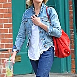 Cameron Diaz walked in NYC with an iced tea.