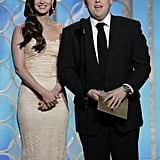 Megan Fox wore a lace dress.