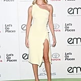 This pastel yellow Cushnie et Ochs dress paired with snakeskin Jimmy Choo pumps made for the perfect look at the 25th Annual EMA Awards in Burbank, CA.
