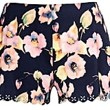 Quiz navy flower laser cut shorts (£18)
