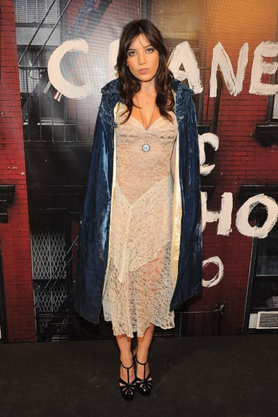 Daisy Lowe layered velvet over lace.