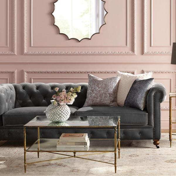 Home Decorators Collection Gordon Grey Velvet Sofa
