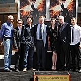 The Dark Knight Rises's leading men Christian Bale, Joseph Gordon-Levitt, Michael Caine, Morgan Freeman, and Gary Oldman, along with Anne Hathaway, linked up at Christopher Nolan's hand and footprint ceremony in LA.