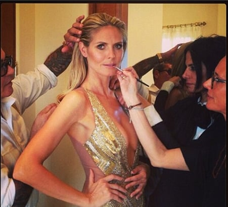 Before she hit the red carpet, Heidi Klum's team put on the finishing touches.  Source: Instagram user hugogloss