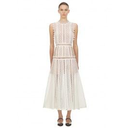 White Lace Panel Midi Dress