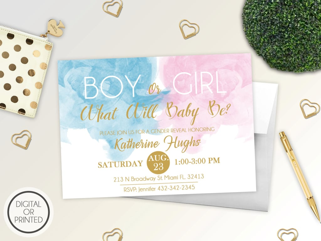 Boy or Girl Watercolor Invite