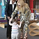 Rachel Zoe helped son Skyler to his feet while shopping in a boutique in West Hollywood.