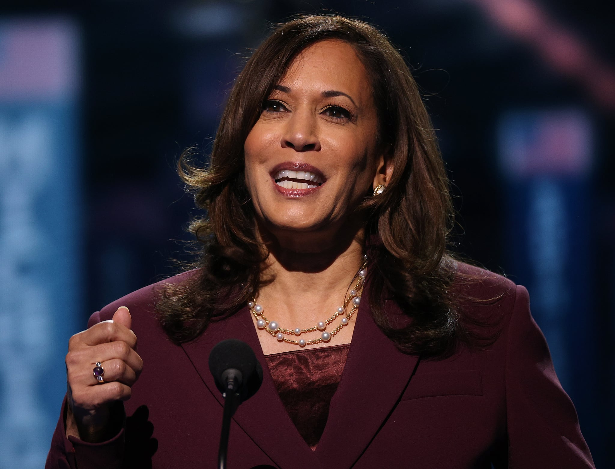 WILMINGTON, DELAWARE - AUGUST 19: Democratic vice presidential nominee U.S. Sen. Kamala Harris (D-CA) speaks on the third night of the Democratic National Convention from the Chase Center August 19, 2020 in Wilmington, Delaware. The convention, which was once expected to draw 50,000 people to Milwaukee, Wisconsin, is now taking place virtually due to the coronavirus pandemic. Harris is the first African-American, first Asian-American, and third female vice presidential candidate on a major party ticket. (Photo by Win McNamee/Getty Images)