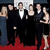 Jennifer Aniston, Courteney Cox, Lisa Kudrow, David Schwimmer, Matt LeBlanc and Matthew Perry walked the red carpet together at the Golden Globes back in 1998.