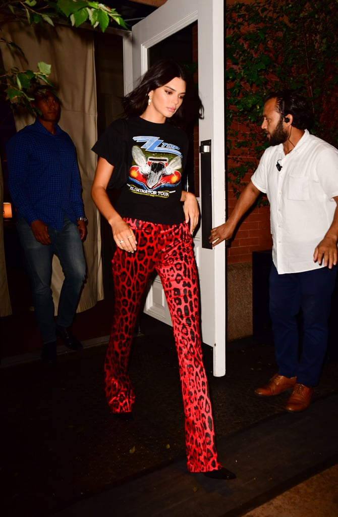 8ae5092e13be Kendall Jenner Red Animal Print Pants New York Fashion Week ...