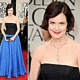 Elizabeth McGovern wore a two-toned Jacques Azagury gown. The tight fitting bodice with a flowing blue skirt made her appear ladylike and graceful.