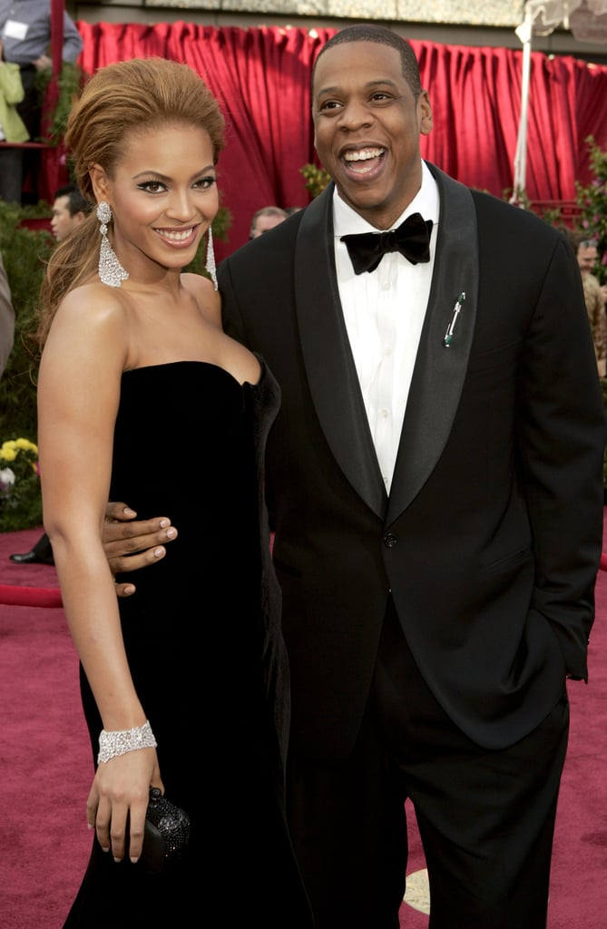 Jay Z and Beyoncé smiled big on the red carpet at the February 2005 Academy Awards.