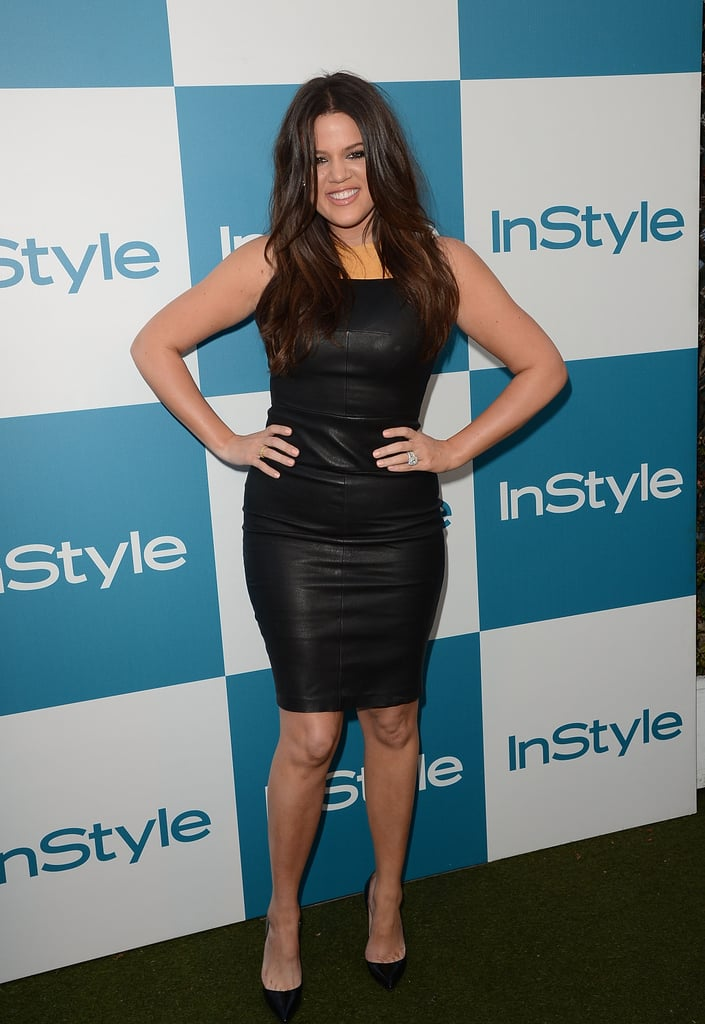 Khloé Kardashian posed on the carpet at InStyle's summer party in LA.