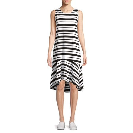 Lord & Taylor Asymmetrical-Hem Stripe Dress | Plus-Size ...