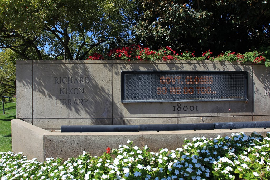 A marquee at the Richard Nixon Presidential Library in California showed that the building was closed.