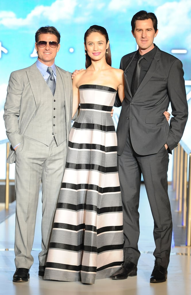 "Tom Cruise reunited with his costar Olga Kurylenko to premiere their latest film, Oblivion, in Tokyo today. They were joined by their director, Joseph Kosinski, for their Asian press tour, which will also include a premiere in China. Yesterday, Olga donned a Victoria Beckham dress to meet up with Tom at the film's press conference at the Ritz-Carlton in the Japanese capital. She has been happily tweeting about her time in the land of the rising sun, saying, ""Just finished presenting the Oblivion premiere in Tokyo. So good to be back in Japan. I love spending time here!"" Tom, for his part, has been keeping busy over the past few days despite his Tokyo press tour. On Monday, he announced that Mission: Impossible 5 has been confirmed, and he celebrated the release of Jack Reacher on DVD yesterday. However, Tom and Olga did miss out on a bit of fun earlier this week when they skipped the 2013 Met Gala so they could stick to their press duties abroad."