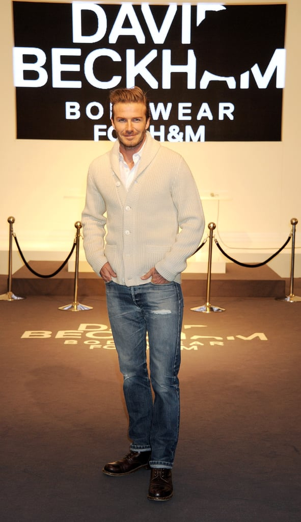 "David Beckham posed in front of a crowd of fans at the H&M store on Regent Street in London today. He was launching his new bodywear line, which he displays in sexy promos for the brand. Yesterday, even David's wife Victoria showed her support for the collection. She tweeted, ""Very excited about David's Beckham for H&M Bodywear launch."" We'll get a better look at David Beckham shirtless during the Super Bowl, when his hot black and white commercial airs during the game. David's spot won't be the only one to watch on Sunday since model Adriana Lima will appear in two separate ads. There are only a few days left until the big game between the NY Giants and the New England Patriots so make sure to check out all of Yum's great Super Bowl snack recipes and get ready to watch!"
