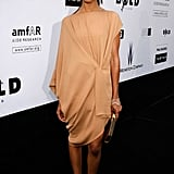 Zoe wore a draped nude dress to the amfAR's Cinema Against AIDS benefit.