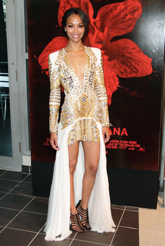 Va-va-voom! Saldana nailed it at the Miami premiere of Colombiana in this edgy Balmain look and sexy Giuseppe Zanotti heels.