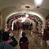 Just past the East Garden Room, there were multiple arches made of old ornaments. Twelve volunteers spent 350 total hours making the arches out of 6,000 ornaments.