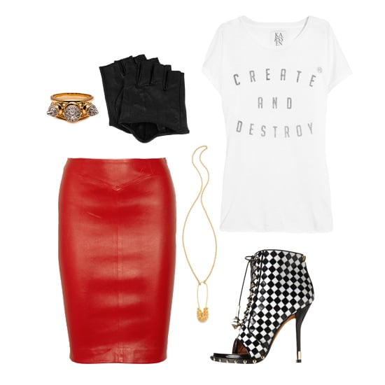 For a night of drinking and dancing (or catching a show), we recommend going full Debbie Harry — starting with a fire-engine red leather pencil skirt. Tuck in a cheeky, tissue-thin tee, then add a badass pair of printed peep-toe booties. Add some extra '80s cool with fingerless leather gloves and a statement-making studded ring. Shop this look:  Zoe Karssen Create and Destroy T-Shirt ($75) Givenchy Check-Embossed Lace-Up Ankle Boots ($1,950) Tom Binns Studded Safety Pin Necklace ($165) Joseph Leather Pencil Skirt ($795) Noir Metal Mix Spike Ring ($82) Karl Lagerfeld Fingerless Leather Gloves ($59)