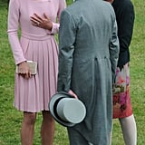 Kate Middleton enjoyed a conversation with guests at the party.