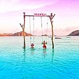 Swing in Tanjung Aan Beach in Indonesia