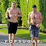 Shirtless Charlie Hunnam and Garrett Hedlund in Hawaii 2018