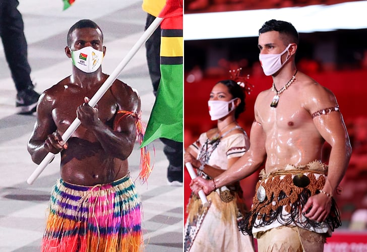 Tonga and Vanuatu Shirtless Flag Bearers at Opening Ceremony
