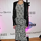 Nicole worked her own Winter Kate dress, a leather-sleeved blazer, and blue suede pumps for the grand opening of National Jean Company in Boston in April 2012.