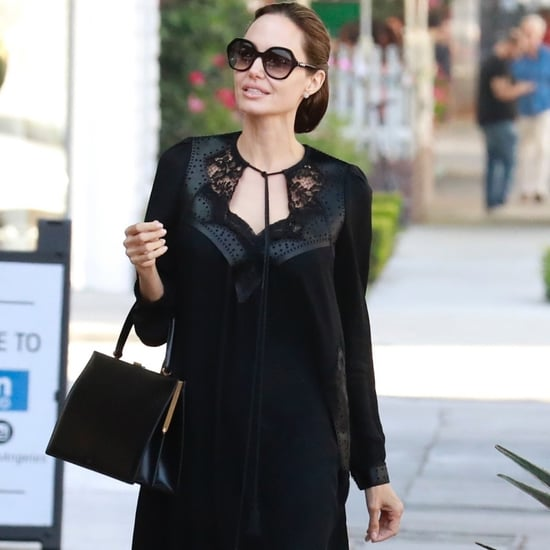 Angelina Jolie Black Lace Dress August 2018