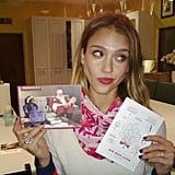 "Jessica Alba showed off a Christmas card that she got from Mindy Kaling with a ""Meet-Cute"" kit. Source: Twitter user JessicaAlba"
