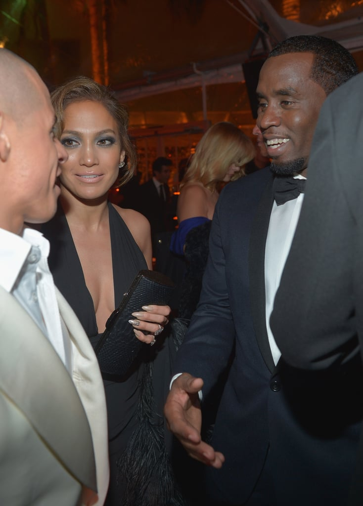 Jennifer Lopez, with current beau Casper Smart by her side, chatted with her ex boyfriend P Diddy.
