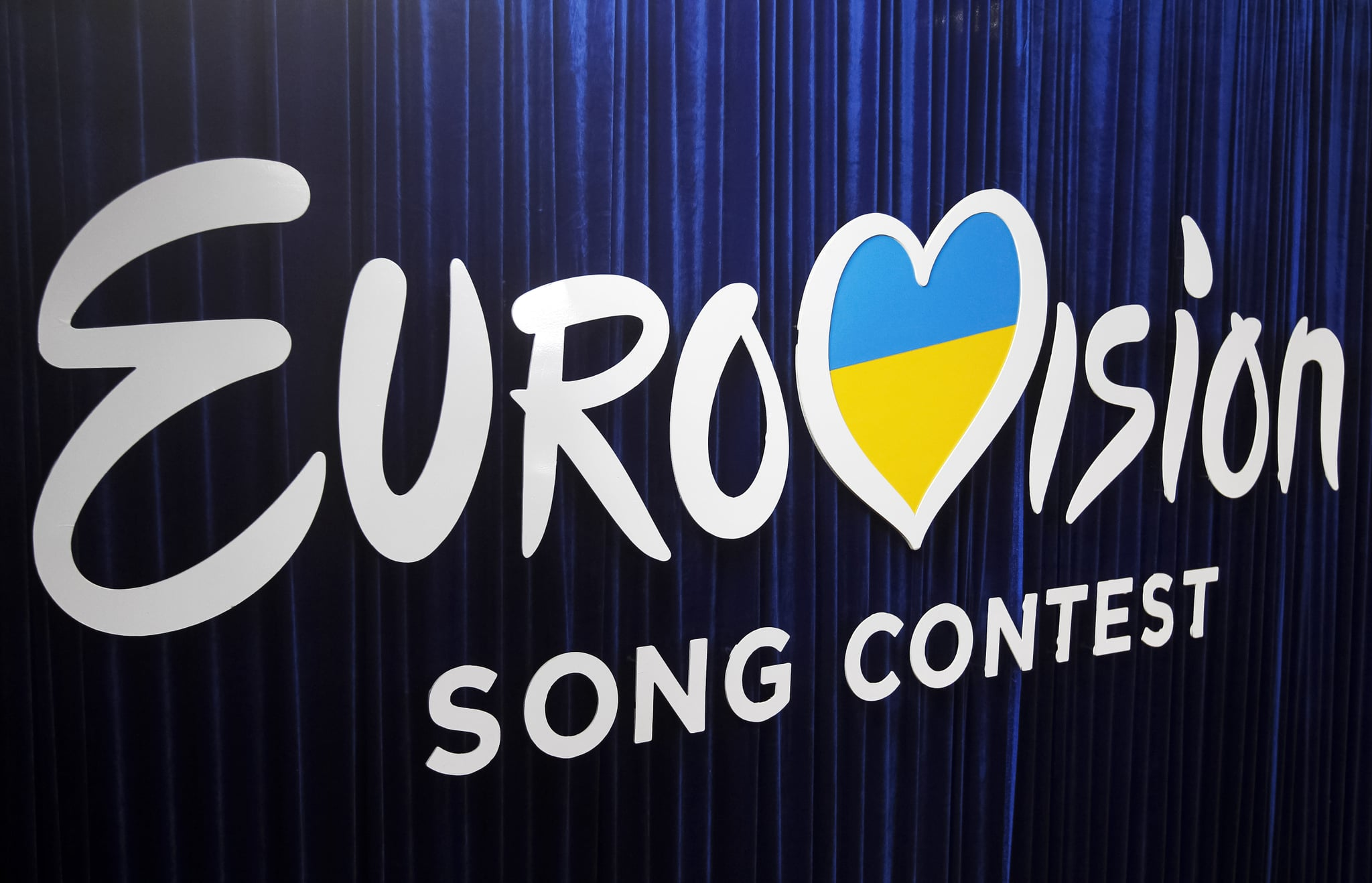 Eurovision Song Contest logo is seen during the 2020 Eurovision Song Contest (ESC) national selection show, broadcasted by STB and UA:Pershyi TV channels, in Kyiv, Ukraine, on 22 February, 2020. Ukrainian band Go_A with song Solovey will represent Ukraine at the Eurovision Song Contest (ESC) that consists of two semi-finals, to be held on 12 and 14 May, and a grand final taking place at the Rotterdam Ahoy in Rotterdam, Netherlands, on 16 May 2020.  (Photo by STR/NurPhoto via Getty Images)