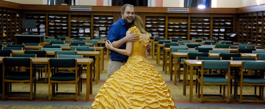 A Hand-Sewn Belle Dress Isn't Even the Cutest Part of This Guy's Beauty and the Beast Proposal