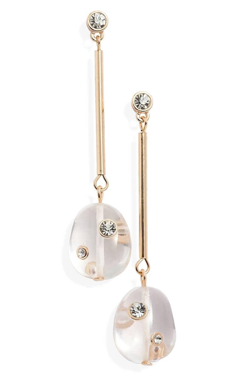 Navy Mini Drop Hoop Earrings
