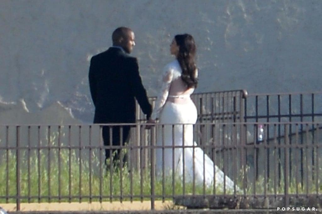 Kim and Kanye held hands.