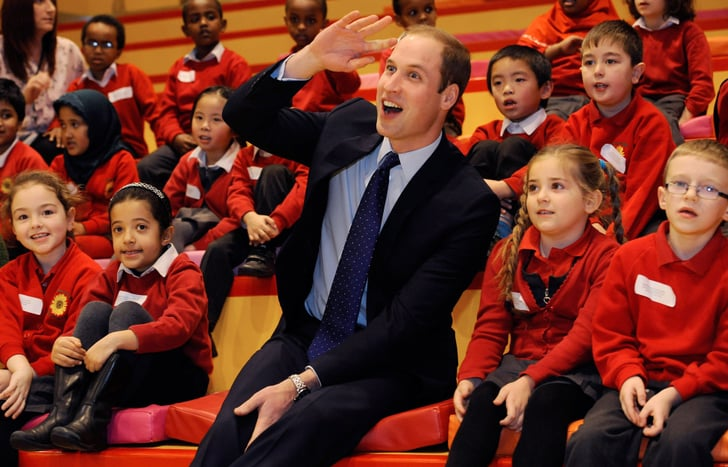 Prince William raised his hand during story time at Birmingham Library.