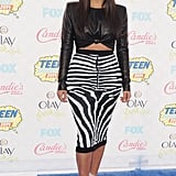 She displayed her curves in this zebra-print Balmain skirt at the Teen Choice Awards in 2014.