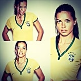 """Adriana Lima shared this series of snaps, saying, """"Let's go Brazil! Let's go my gold boys!"""" Source: Instagram user adrianalima"""