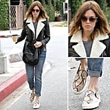Mandy Moore worked a cozy shearling jacket, laid-back denim, and a pair of snakeskin kicks effortlessly. Here's how.