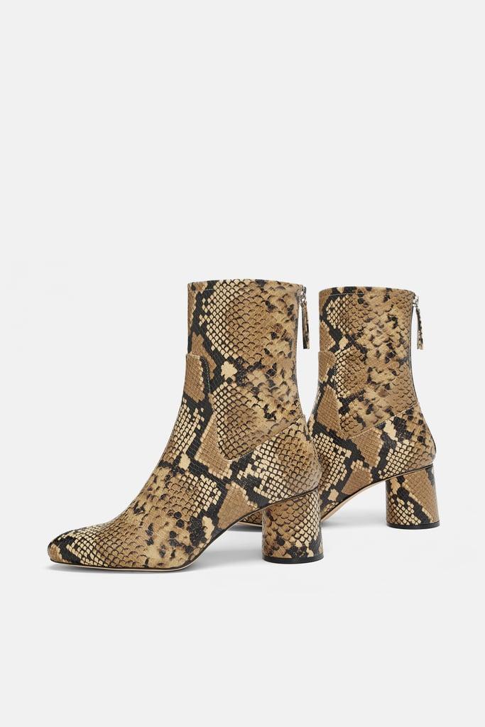 7bcac430ca6 Zara Animal Print High-Heel Ankle Boots