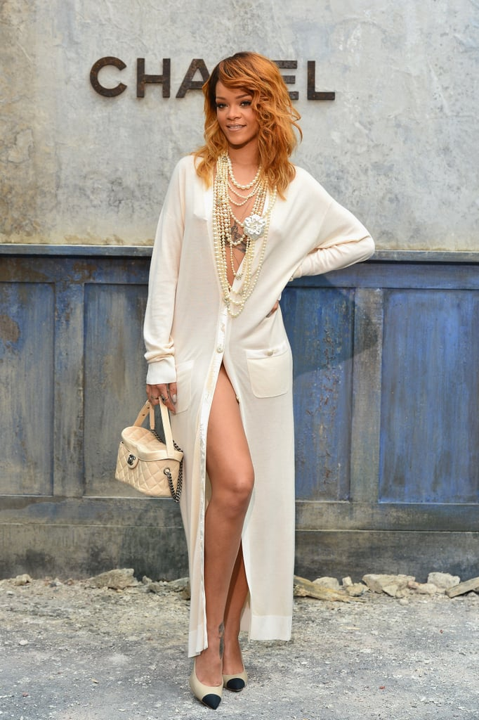 Rihanna slipped into something white and slinky for the Chanel Haute Couture show.