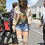 She Also Wore a Graphic Tee and a Light Embellished Jacket