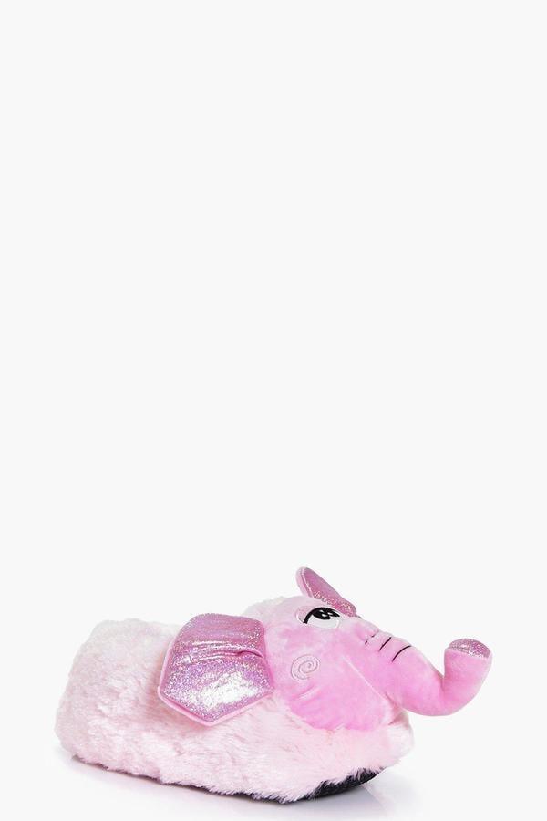 Boohoo Grace Pink Fleece Novelty Elephant Slipper ($20)