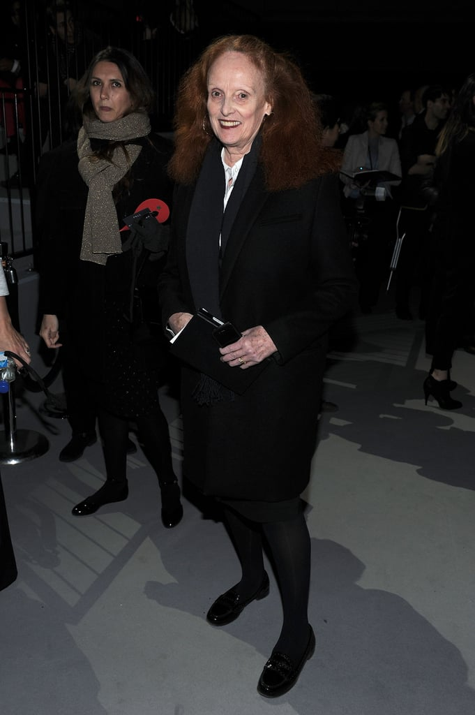 Grace Coddington made a chic appearance in Marc Jacobs front row.